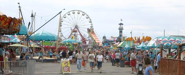 The carnival grounds at the Missouri State Fair Saturday evening.