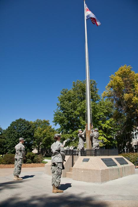Members+of+the+UCM+ROTC+color+guard+lower+the+flag+to+half-staff+in+honor+of+those+who+died+during+the+9%2F11+tragedy.