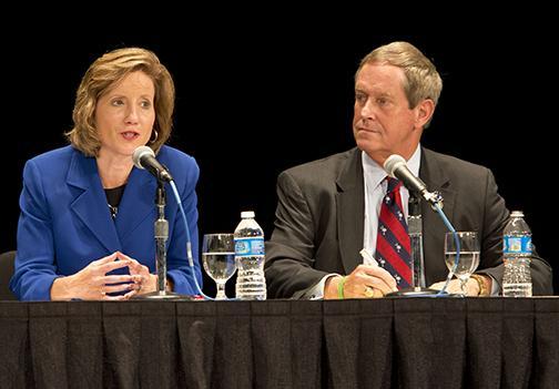 (Photo by Bryan Tebbenkamp, University Relations) From left, U.S. Rep. Vicky Hartzler and U.S. Rep.