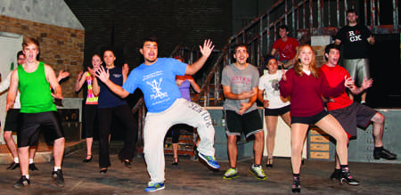 Students practice a dance routine for The Drowsy Chaperone during a rehearsal Monday. From left to right: Kaelyn Whitt, Matt Swenson, Annie Beile, Lexi Morris, Justin Barron, Bob Wearing, Olivia Welch, Devin Burns, Kelsey Reinsfelder and Joe Reece. (Photo by ANDREW MATHER, Photo Editor)