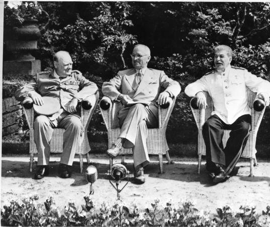 From left, Prime Minister Winston Churchill, President Harry S. Truman, and Marshall Joseph Stalin at a meeting of the Allies at Potsdam.