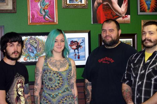 (Photo by Mitchell Brown, digitalBURG) The staff of the Dublin Social Club is, from left, Kody Miller, Terra Walker, Tony Madrid and Adam Warner.