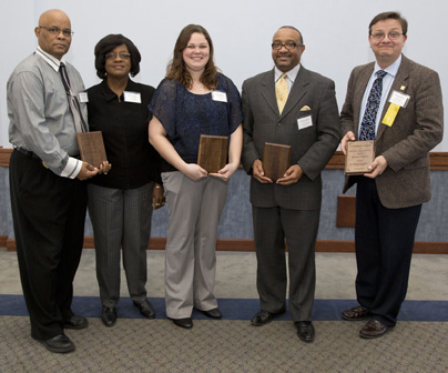 (Courtesy photo) Recipients of the 2013 MLK Community Service Awards are, from the left, Willie and Inell Shields, Paige Becker, the Rev. Terrence Moody on behalf of the Shiloh Missionary Baptist Church Harvest of Hope, and Bob Vickers.