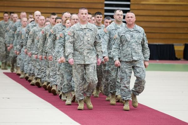 Missouri National Guard soldiers were honored during a sendoff ceremony at UCM's Multipurpose Building. (Photo by ANDREW MATHER, digitalBURG)