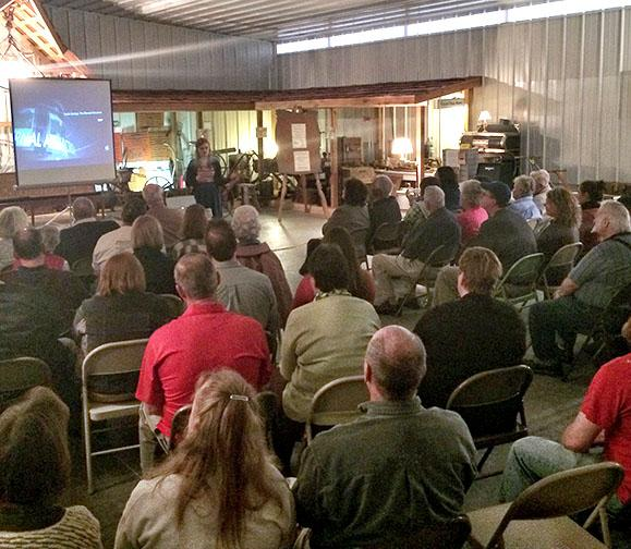 """(Photo by Andrew Mather) UCM graduate Ellen Becker introduces her documentary film """"Pertle Springs: The Eternal Attraction"""" on April 3 at the Johnson County Historical Societys Culp Building."""