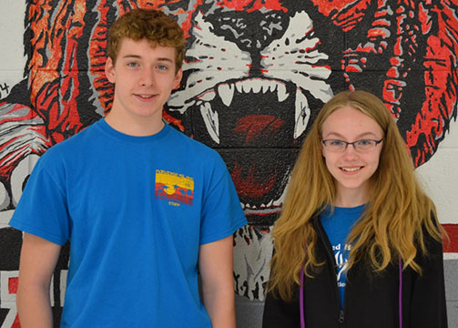 Warrensburg High School sophomores Benjamin Bissen, left, and Kathryn Smith recently received scholarships to attend the Missouri Scholars Academy for three weeks on the campus of the University of Missouri – Columbia. The scholarships are made possible by the donations of Warrensburg R-6 School District faculty and staff participating in the payroll deduction program.