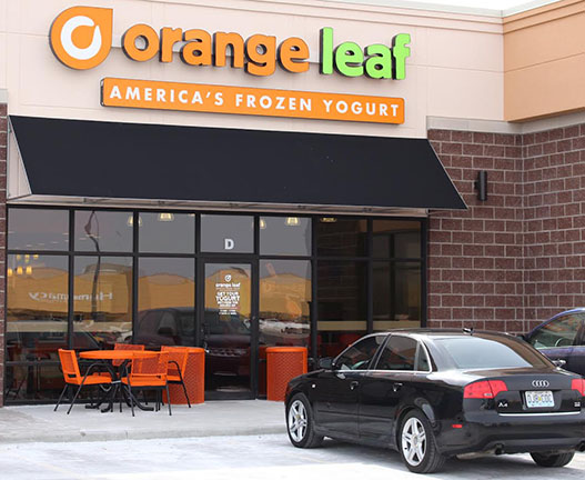 By Paul Joyner The owners of the new Orange Leaf frozen yogurt store in town plan to celebrate with a grand opening from noon to 11 p.m. Saturday in the strip center across from Wal-Mart.