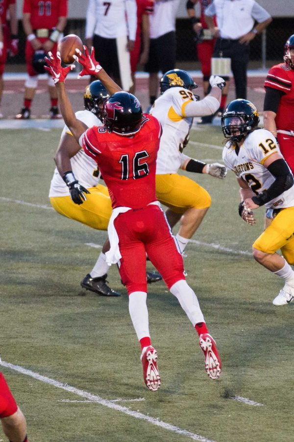 Wide receiver Tyler Jones goes airborne to bring in a reception in the third quarter.