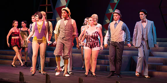 """PHOTOS BY BRANDON BOWMAN / PHOTO EDITOR Velma Kelly, front left, and company start the show with the energetic number """"All That Jazz"""" Monday night at the Highlander Theatre."""