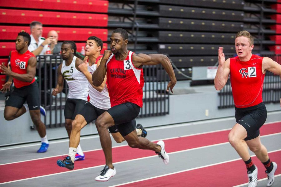 PHOTO SUBMITTED BY UCM MEDIA RELATIONS In lane 3, senior Marquis Jones wins the 60 M dash with a time of 6.97 seconds at the UCM Invitational on Friday, Jan 22.