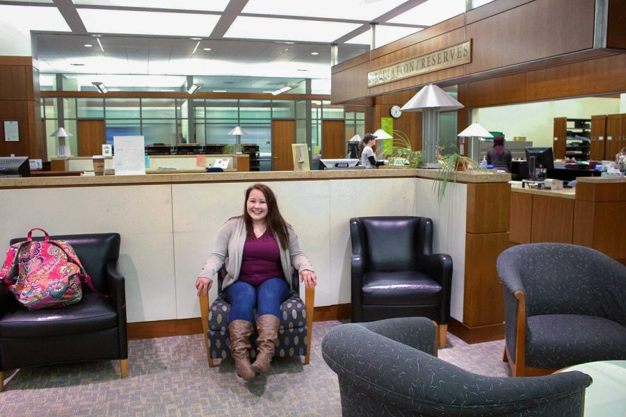 PHOTO BY BETHANY SHERROW / FEATURES EDITOR Brooke Blythe sits in the James C. Kirkpatrick Library, where she spends much of her time.