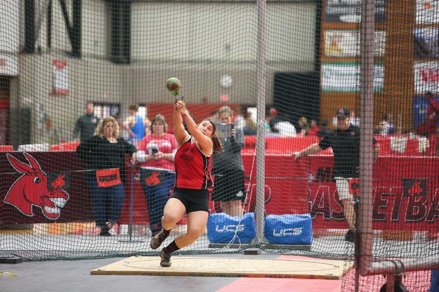 PHOTO SUBMITTED BY UCM ATHLETICS After being named the MIAA Co-Field Athlete of the Week, graduate student Heavin Warner broke the school and Multipurpose Building record this past weekend at the UCM Classic.