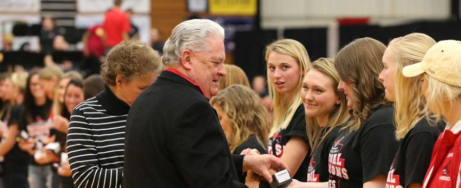 PHOTO SUBMITTED BY UCM ATHLETIC DEPARTMENT Athletic Director Jerry Hughes presented the 2015 Jennies track and field team with their national championship rings during halftime of the Mules basketball game against Lindenwood on Jan. 13.