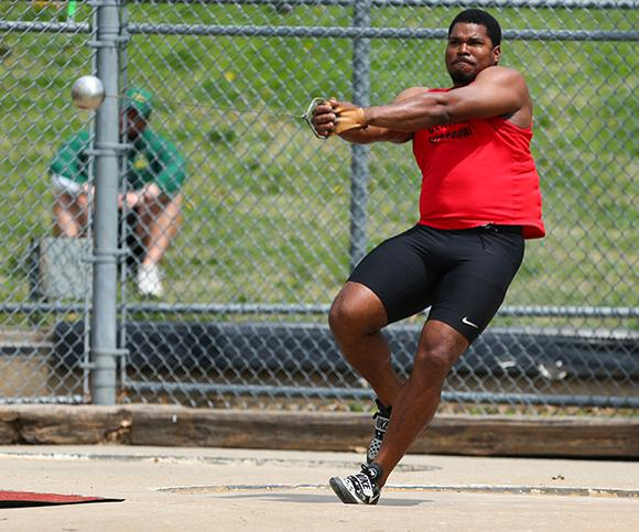 PHOTO SUBMITTED BY UCM ATHLETICS At the Emporia State Relays on Saturday, March 2, senior thrower Caniggia Raynor broke the school record in the hammer throw with a mark of 223 feet and 10 inches.