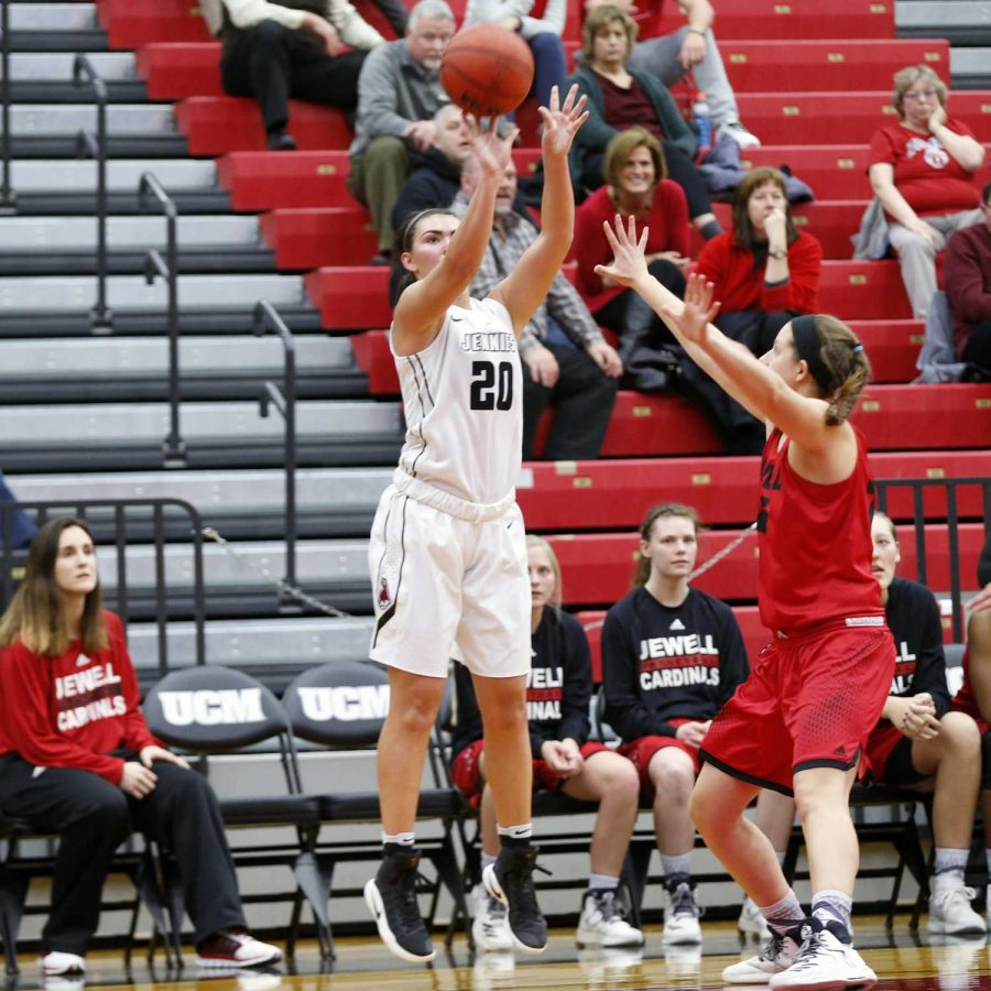 PHOTOS BY STEVEN SPEARS / MANAGING EDITOR Freshman Megan Skaggs pulls up for a shot against William Jewel on MOnday Dec. 19. The Jennies defeated the Cardinals 70-59 to pick up their tenth consecutive win.