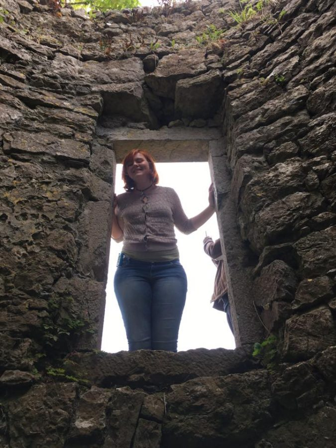 Photo submitted by Emma Luechtefeld Luechtefeld standing in the doorway of the national monument, Pallas Castle.