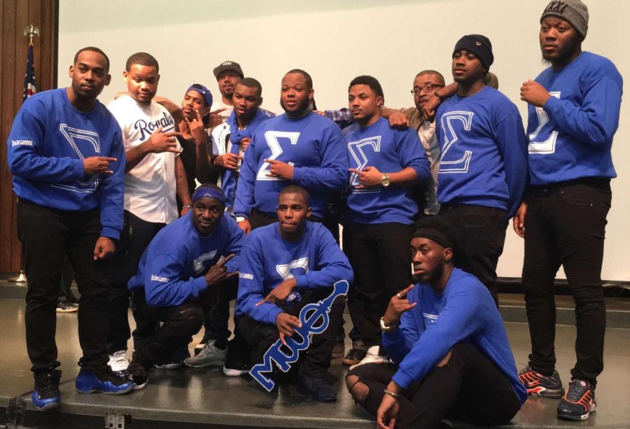 The Epsilon Lambda chapter of Phi Beta Sigma Fraternity Inc. at UCM hosted their first neophyte presentation, which is a new member showcase, in over five years Sunday, Nov. 26, in W.C. Morris. The fraternity members are, back row, from left: Kristopher Bankhead, alumnus; Dominic Toliver, alumnus; Dominic Davis, senior; Christian Rickets, alumnus; Terrence Kennedy, alumnus; and Semaj Jones, alumnus. Bottom row, from left, Monteze Latimore, senior; Nah'jei Cunningham, sophomore; and Daniel Patterson, alumnus.