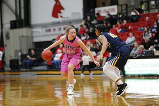 Paige Redmond prepares to attack the basket in the Jennies win over Central Oklahoma Thursday at home.