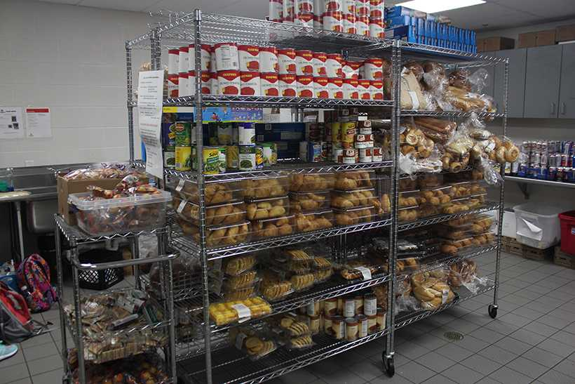 Food stocks the shelves at Campus Cupboard in the lower level of the Student Recreation and Wellness Center. (Photo by Garrett Fuller, assistant design editor.)