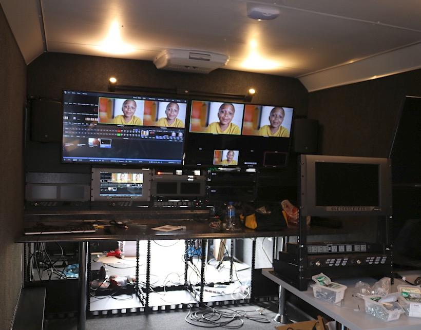 Work on moving the new TriCaster and the rest of the equipment into the new broadcast trailer began this week. The trailer is 24-feet long and arrived Friday, it will serve as a base of operations for UCM's athletic broadcasts.  Photo by Molly Burnam/Photo Editor