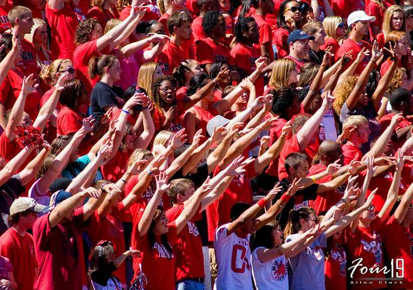 Roaring Red student section at a Mules football game