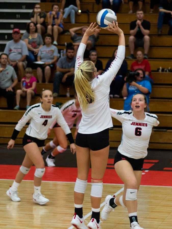 Sophomore Ally Offerdahl sets up senior Kylie Hohlen in the Jennies 3-0 sweep of Emporia State Friday at the Multipurpose Building. (Photo by Peter Spexarth/For the Muleskinner)