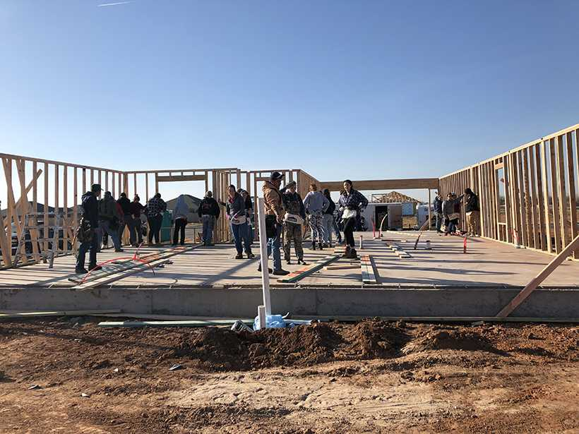 Breakers frame a house in Oklahoma City during the 2017-2018 spring break.