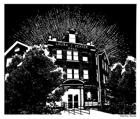 The Laura J. Yeater Hall facade. (Illustration by Britain Bray, illustrator)