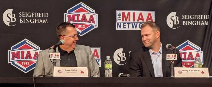 Head coaches Dave Slifer (left) and Doug Karleskint (right) addressed the media ahead of the 2018-2019 season at MIAA basketball media day at the College Basketball Experience in Kansas City, Missouri. (Photo by Jason Brown/Sports Editor)