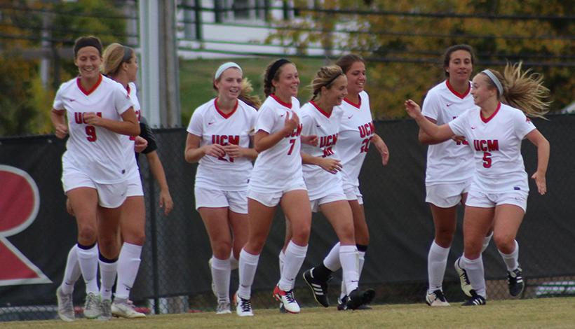 The Jennies celebrate freshman forward Payge Bush's (#10) first career goal in a 4-0 victory over Lindenwood in the quarterfinals of the MIAA Championship Wednesday at South Recreational Complex. (Photo by Jason Brown/Sports Editor)