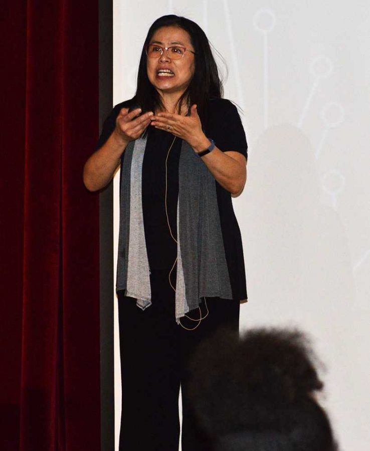 Joyce Chang, child and family development professor, delivers her presentation