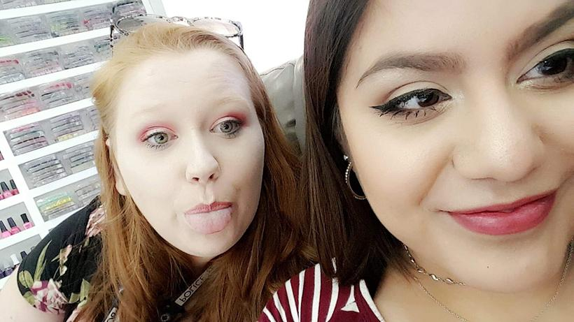 Carmen Techau (left) and high school friend, Brenda Yazmin (right), pose for a selfie while getting their nails done and making memories. (Photo submitted Brenda Yasmin)