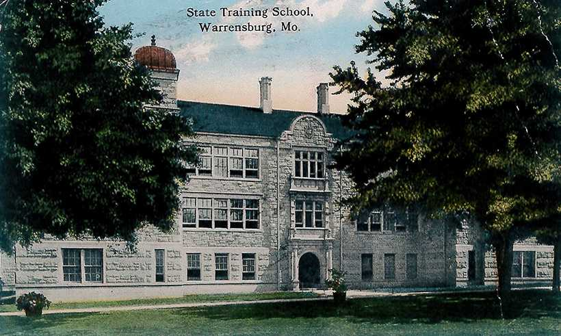 An early postcard depicts the original Training School building, which was lost to a fire on March 6, 1915 that destroyed most of campus. (Photo courtesy of McClure Archives.)