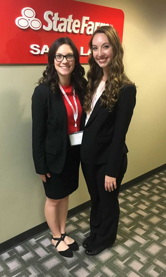 Marissa Johnson, left, and Shelby Briscoe pose at the State Farm Marketing and Sales Competition at UCM Nov. 2. (Photo submitted by Shelby Briscoe / For the Muleskinner)