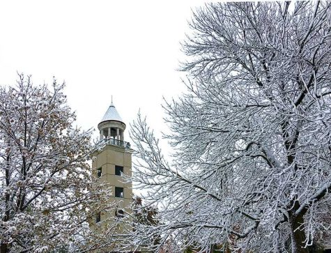 The Maastricht Friendship Tower behind stands behind the trees in Selmo Park Friday. According to the National Weather Service in Pleasant Hill, Missouri, about 5 1/2 inches of snow fell Thursday night in Warrensburg. (Photo by Erica Oliver / Asst. Photo Editor)