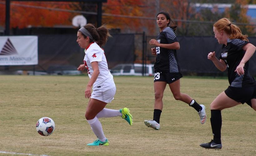 The Jennies are looking for their first win in three tries against Central Oklahoma when the two teams meet at 1 p.m. Friday at GVSU Soccer Field in Allendale, Michigan. Pictured: Sophomore forward Haley Freeman. (Photo by Jason Brown/Sports Editor)