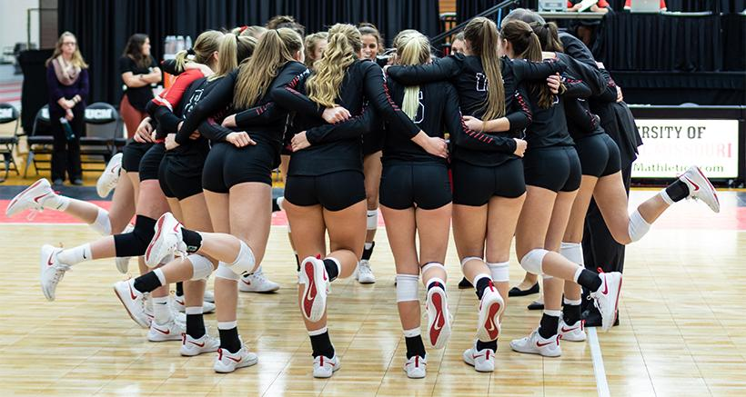 The Jennies prior to their 3-1 win over Southwest Baptist on Senior Day Saturday at the Multipurpose Center. (Photo by Peter Spexarth/For the Muleskinner)