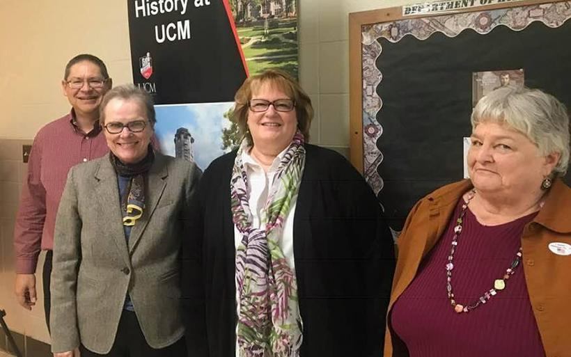 (From left) Jon Taylor, member of the thesis committee, Kathleen Miller and Carol Heming, thesis advisor pose to celebrate Miller defending her Master of Arts thesis Nov. 9 in the Wood Building. (Photo by the History at UCM Facebook page)