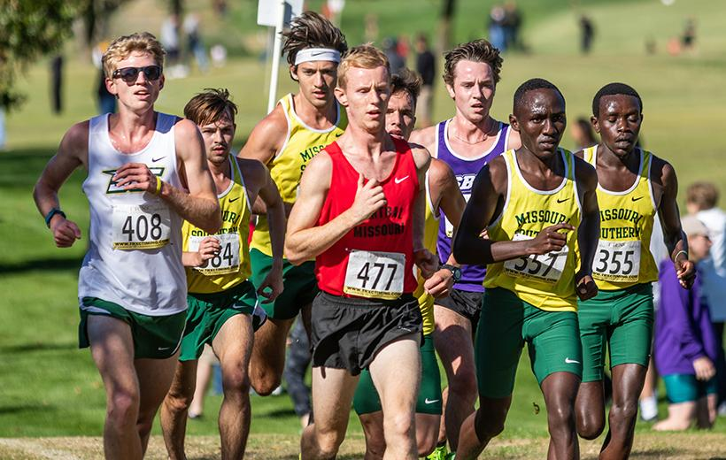 Sophomore Nick Victor leads a pack of runners at the Mule Run on Oct. 20. Victor was the Mules top finisher in each of the five races he ran this season. (Photo by Peter Spexarth/For the Muleskinner)