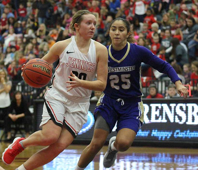 Senior guard Paige Redmond leads the Jennies with 16.3 points per game. She has surpassed 25 points on two occasions this season, including a season-high 27 against St. Marys. (Photo by Jason Brown/Sports Editor)