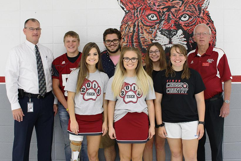 Fall Dual Credit Scholarship recipients (front row) Gabi Shull, Kalissa Castanedo and Kaylee Russell. (Back row) Dr. Scott Patrick, Dane Sproat, Richard Saettone, Gracie Brant and  Foundation Board member, Rick Miller. (Photos submitted by Judy Long)