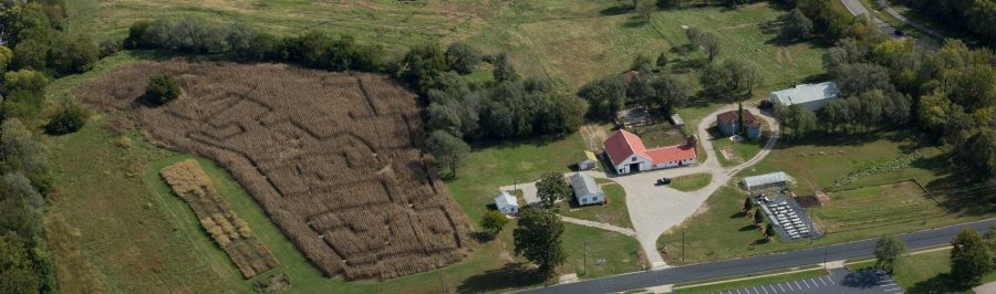 An aerial shot of last year's corn maze at the UCM Farm. (Photos submitted by Travis Hume/ for the Muleskinner)