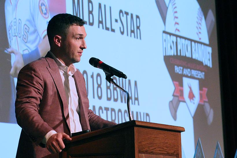 Houston Astros player Alex Bregman gives the keynote speech at the 2019 First Pitch Banquet. He cited the guiding words of his father,