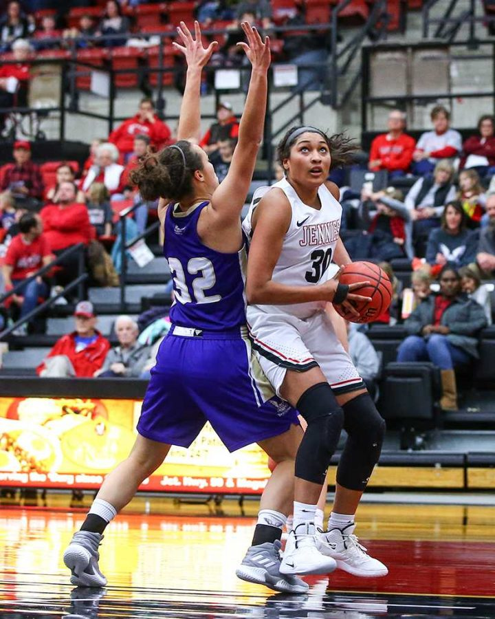 Junior forward Kim Crown is averaging nine points per game and six rebounds per game. She has scored in double figures in eight games and achieved a double-double on one occasion. Photo by Andrew Mather Photography