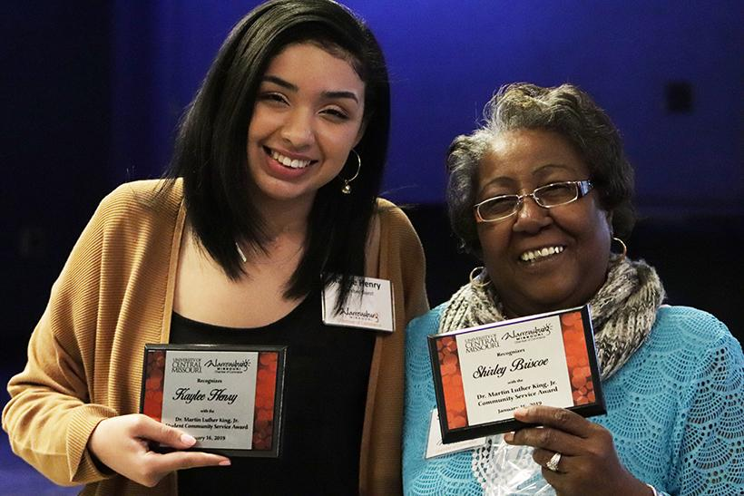 Kaylee Henry, left, and Shirley Briscoe, right, posing with their MLK Community Service Awards during the luncheon Wednesday at Fitt-Kickers.