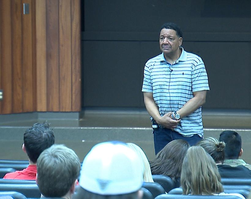 Unity Week concluded Feb. 21 with Darryl Howard speaking to students and faculty about overcoming a wrongful conviction that left him incarcerated for 24 years. Photo courtesy of KMOS