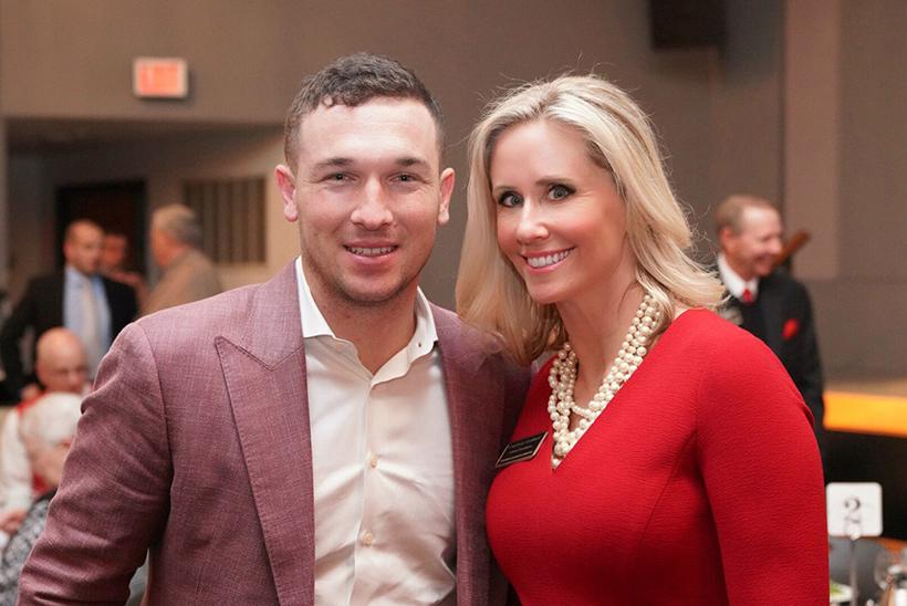 Courtney Goddard and Houston Astros infielder and MLB All Star Alex Bregman pose for a photo at the 2019 First Pitch Banquet in the Elliott Student Union Ballroom. Photo courtesy of Courtney Goddard