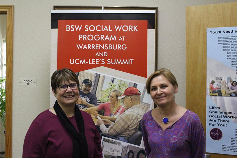 From left, Marlys Peck, social work program director, and Marzanna Pogorzelska, guest professor from Opole University in Opole, Poland, are working together as part of the Erasmus + program. Pogorzelska spent the last week holding lectures with social work students. Peck will travel to Opole to teach later this month. Photo by Jason Brown/Managing Editor