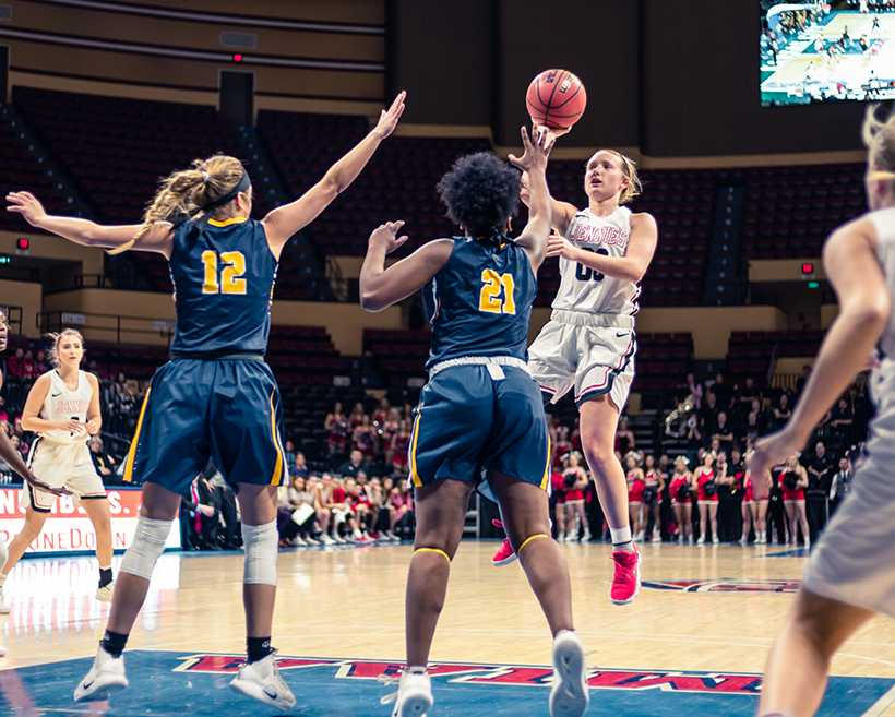 Senior point guard Paige Redmond became just the second Jennie to earn All-American honors in three seasons after the Womens Basketball Coaches Association announced their selections Monday. (Photo by Peter Spexarth/For the Muleskinner)