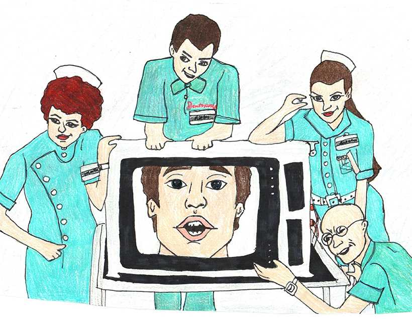 """Conceptual art of a scene in """"Shock Treatment"""" where Farley Flavors (Cliff De Young) and his henchmen propose to Janet Majors (Jessica Harper) that he can make her an overnight sensation.  (Illustration by Danielle Friedmeyer/For the Muleskinner)"""